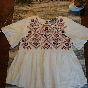 Francescas Embroidered Peplum top - only worn once